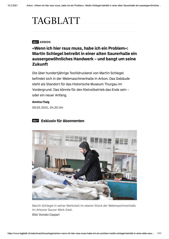 TDS Textildruckerei Arbon St Galler Tagblatt 9. 2. 2021