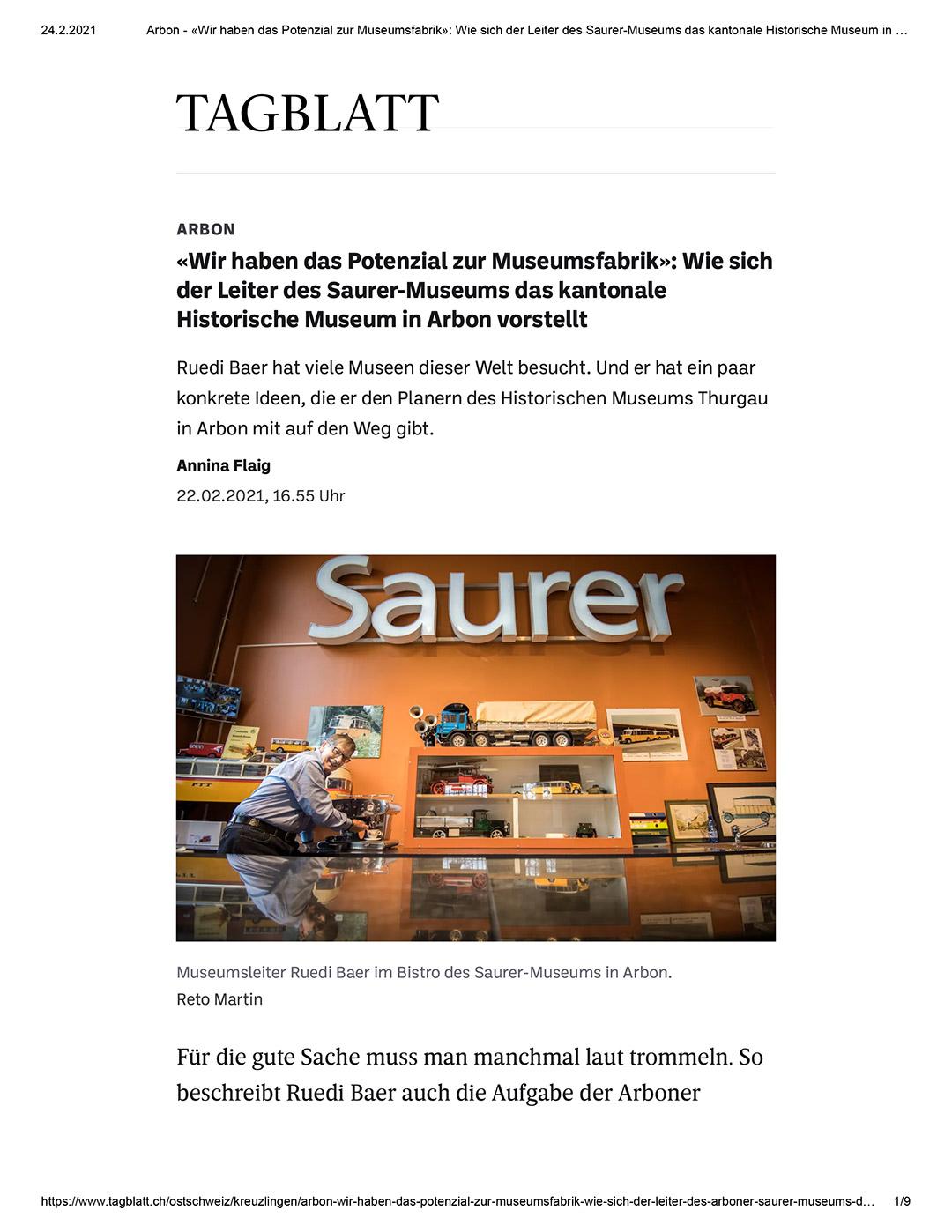 TDS Textildruckerei Switzerland Beitrag Tagblatt 22. Feb2021
